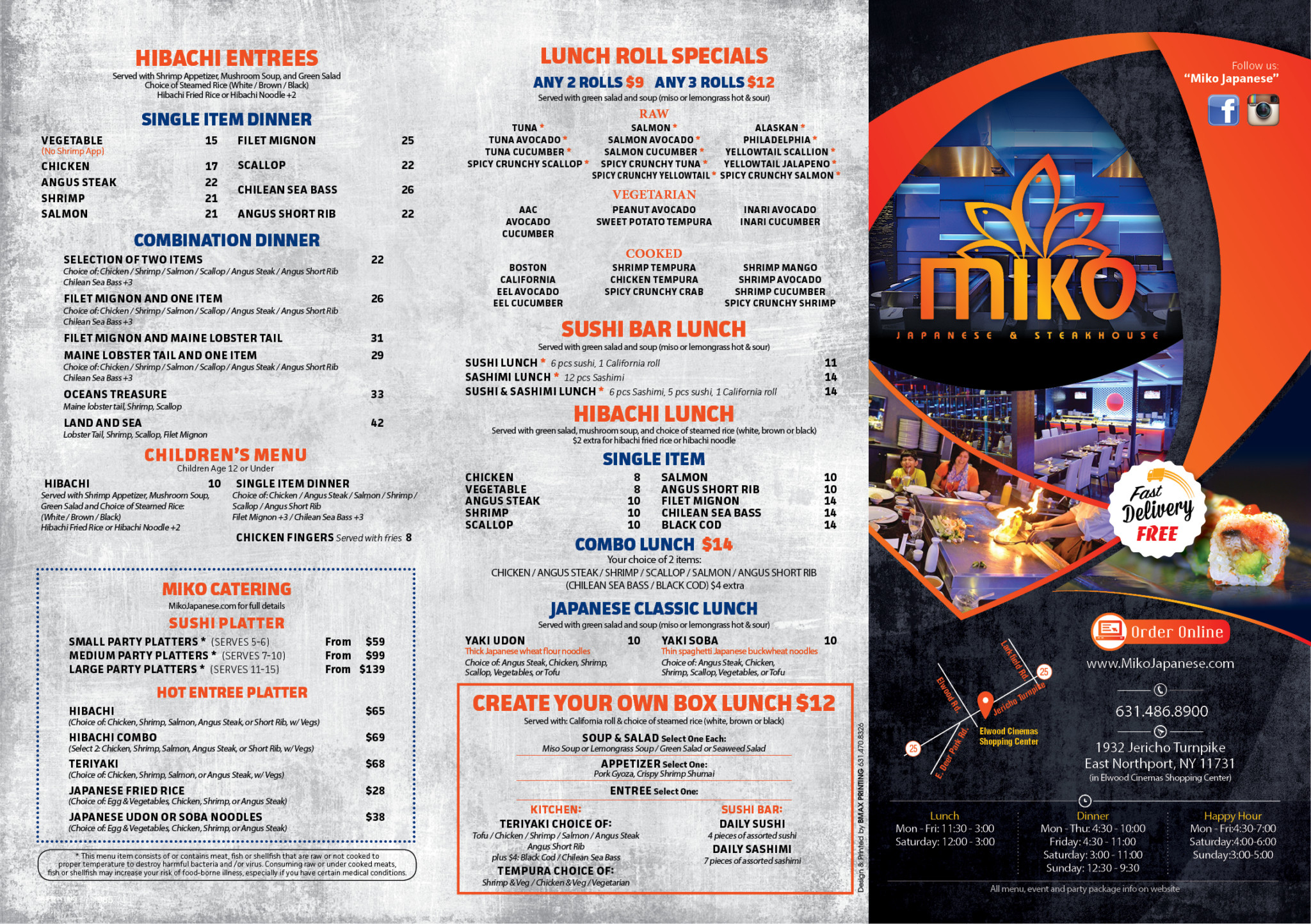 Miko Carry Out Menu Miko Japanese Steakhouse - Family table north port menu